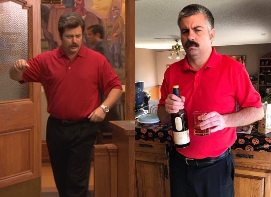 Ron Swanson and Andy as Ron Swanson